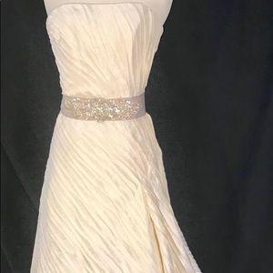 Watters Ivory Pleated Wedding Dress